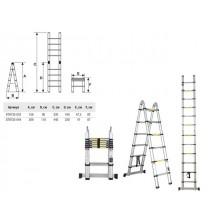 Лестница телескопическая 2-х секц. алюм. 209/440см, 2х7 ступ. 15кг STARTUL (ST9733-044)