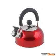 Чайник со свистком, нержавеющая сталь, 1.2 л, серия Holiday, красный металлик, PERFECTO LINEA (диаметр 16,5 см, высота 13,5 см, общий объем изделия 1, (52-012015)