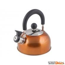 Чайник со свистком, нержавеющая сталь, 1.2 л, серия Holiday, оранжевый металлик, PERFECTO LINEA (диаметр 16,5 см, высота 13,5 см, общий объем изделия  (52-012014)