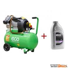 Компрессор ECO AE-502-3 АКЦИЯ! + Масло компрессорное ECO 1л (440 л/мин, 8 атм, коаксиальный, масляный, ресив. 50 л, 220 В, 2.20 кВт) (AE-502-3A1)