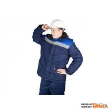Куртка утепленная (синяя+василек) с капюшоном