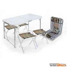 Набор складной стол влагостойкий и 4 стула, NIKA (Складной стол влагостойкий + 4 стула) (ССТ-К2)