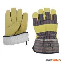 Перчатки кожанные комбинированные утеплённые (из мягкого свиного шлифованного спилка и плотной х/б ткани) (С0601)
