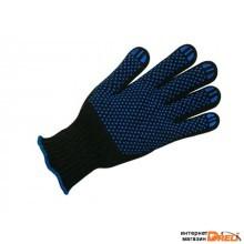 Перчатки п/шерстяные черные с ПВХ 7 класс