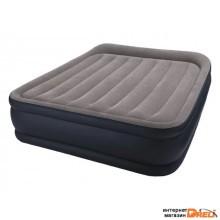 Надувная кровать с подголовником Queen Deluxe (Квин Делюкс), 152х203х42 см, встр. эл. насос, INTEX (64136)