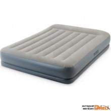Надувная кровать с подголовником Queen (Квин), 152х203х30 см, встроенный электрич. насос, INTEX (64118)