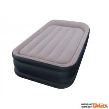 Надувная кровать с подголовником Twin Deluxe (Твин Делюкс), 99х191х42 см, встр. эл. насос, INTEX (64132)