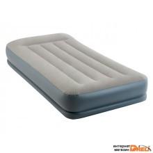 Надувная кровать с подголовником Twin (Твин), 99х191х30 см, встроенный электрич. насос, INTEX (64116)