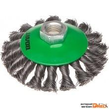 Щетка дисковая косич.125мм/M14 ВОЛАТ (для УШМ шлифмашины болгарки М14 тарелка торцевая крацовка) (81060-125)