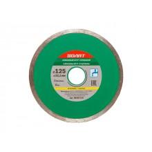 Алмазный круг 125х22 мм по керамике сплошн. ВОЛАТ (мокрая резка) (89030-125)