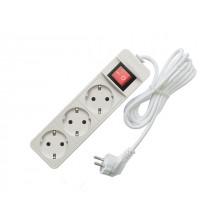 Удлинитель 5м (3 роз., 2.2кВт, с/з, выкл., ПВС) Союз (провод 3х0,75мм2; сила тока 10А; с/з - с заземляющим контактом) (481S-7305)